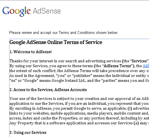 Applying for Google adSense Account