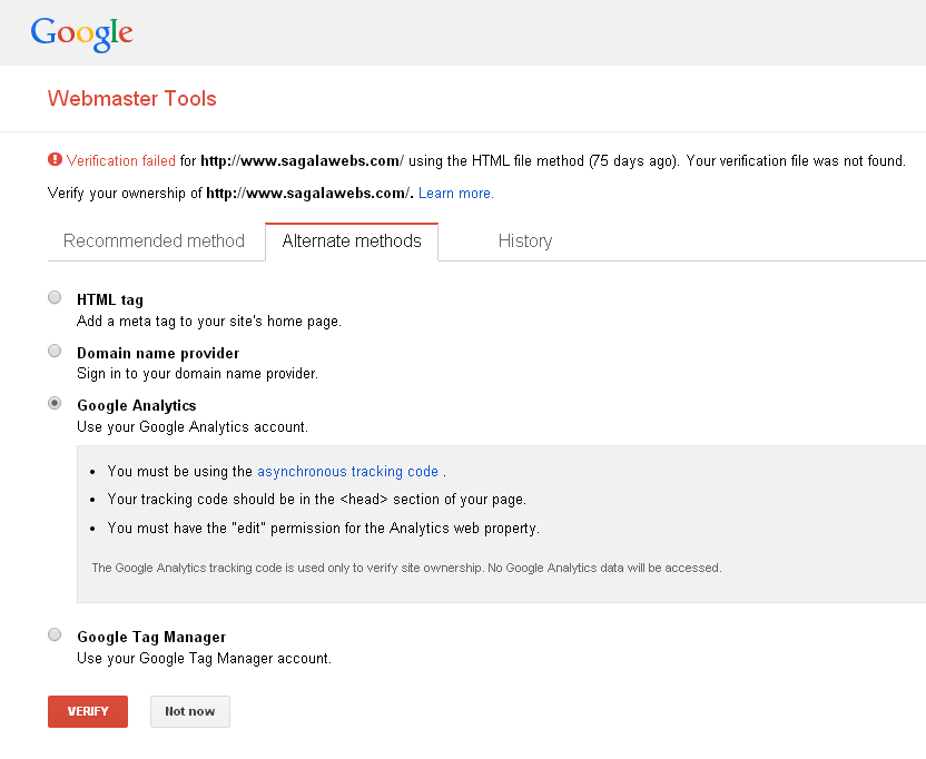 Methods To Verify Site Ownership To Google
