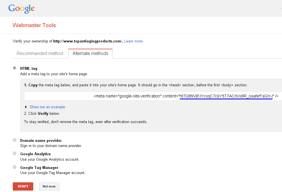 Verify Site Ownership With Google Webmaster Tools