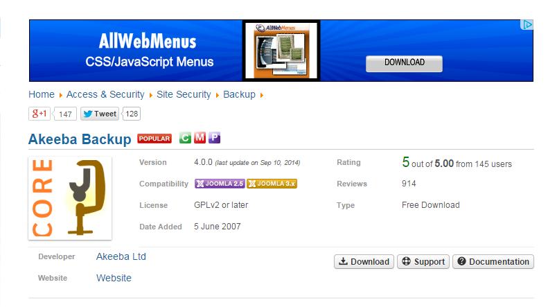 back up your joomla website