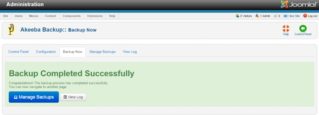completing your joomla website backup