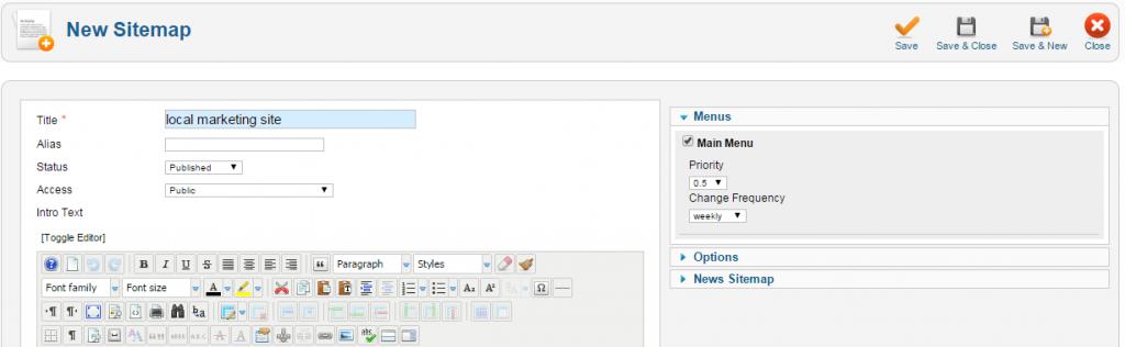generating a joomla sitemap