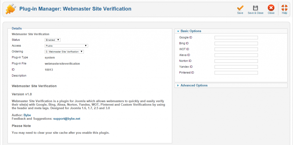 how to verify your joomla site for webmaster tools