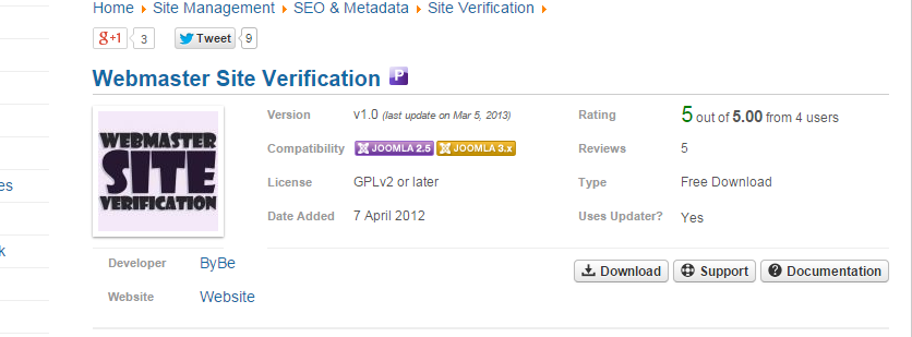 verify joomla site